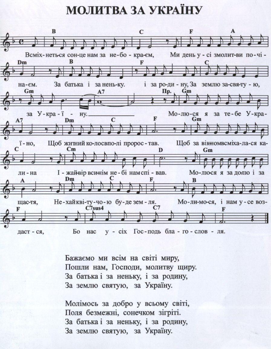 Молитва украины песня